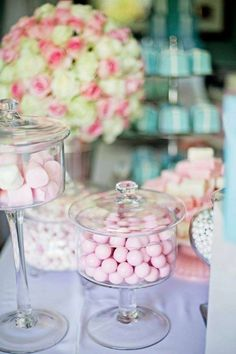Candies look great in tall glass containers.