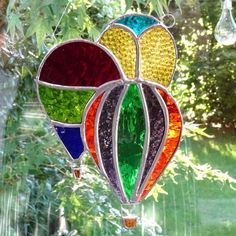 Stained Glass Hot Air Balloons Suncatcher - Multi £24.95