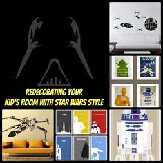Redecorating your kids' room with Star Wars style. I know this is directed to boys but using some of these would be perfect in the girls' room. Audrey adores Star Wars