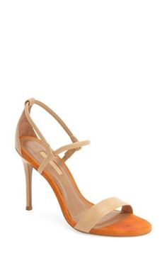 TopShop Romeo Sandal $85 Nude Orange Leather Strappy Heels Top Shop