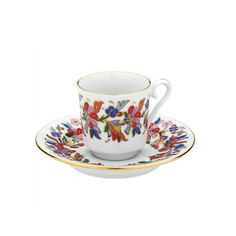 Turkish Coffee Cup & Saucer (with gold) - Mixed Flowers