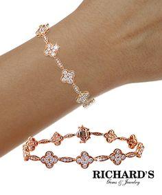 Flower pave bracelet in 18k rose gold
