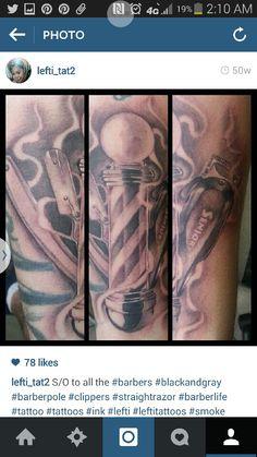 Barber pole tattoo