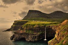 The remote village of Gásadalur on the island of Vágar in the Faroe Islands, Denmark