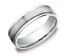 A classic design with a fashionable twist, this wedding band is great for any man's style. A high-polished platinum trim lines either side of a satin center. The comfort fit curved inside of the ring allows for easy wear from day to night.