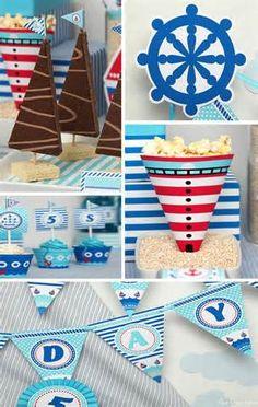 Nautical themed decorations www.karaspartyideas.com