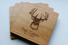 Personalized Wood Coaster Set of 4, Custom Engraved Coasters, Whitetail Deer Hunting Cabin Decor, Gift For Him, Established Date, Gift Idea by SugarTreeGallery on Etsy