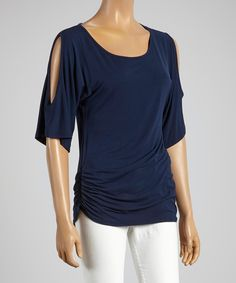Look at this Navy Ruched Cutout Top on #zulily today!