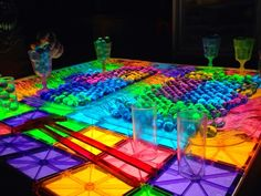 Water Beads and Magna Tiles on the light table