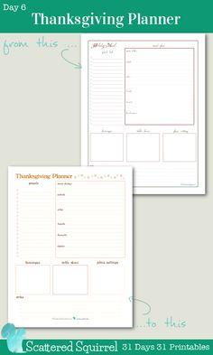 {31 Days 31 Printables} Day 6 - Thanksgiving Planner Printable: Use this handy printable to plan your Thanksgiving get together. Keep track of everything from the menu and guests, to decoration ideas.