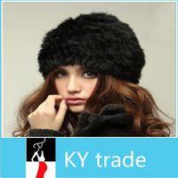 Fluffy Mujeres ruso cosacos 100 % real de piel de conejo punto Hat Head Ski Cap cálido invierno Fur Mujer Sombreros Tocado NUEVO