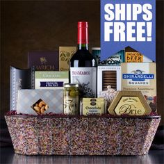 Deluxe Wine Basket. Created in a wire loaf-basket covered with colorful glass beads, this gift is a real gem. Select from over 20 wines or send the wonderful BenMarco Malbec we've chosen. Includes Marich Chocolate Covered Strawberries, creamy Brie cheese spread, olives, cashews and MUCH more! First-Class Corporate Holiday Gift! Holiday Ideas, Holiday Gifts, Wine Gift Baskets, Cheese Spread, Chocolate Covered Strawberries, Hampers, Brie, Olives, Gourmet Recipes