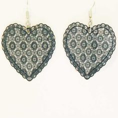 Modern pair of metal lace heart drop earrings for pierced ears All airforce blue heart color with silver tone hook fastenings Pre owned earring