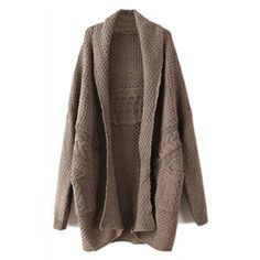Twisted Buttonless Dark-coffee Cardigan   pariscoming