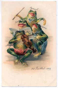 Postcard with frogs, 1899