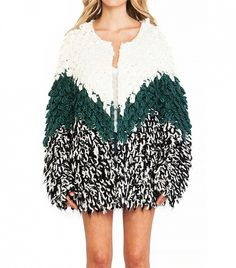Such a fun shaggy multi-colored coat // Tularosa Dylan Knit Coat