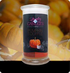 "(New) Pumpkin Candle. A true to smell fragrance bursting with fresh pumpkin. This scent is great to get you ""in the mood for fall!"" Mouthwatering notes of butter, sugar, and spices complete this irresistible bakery scent. Pumpkin candles with jewelry. Candles With Jewelry Inside, Jewelry Candles, Soy Wax Candles, Scented Candles, Candle Wax, Pumpkin Souffle, Aroma Beads, Pumpkin Candles, Pumpkin Pumpkin"