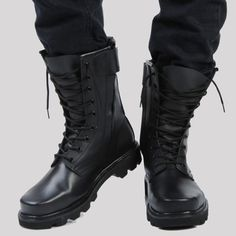 """""""Size38-46 2013 Fashion Men'S Genuine Leather Combat Steel Head Martin Mid-Calf Boots Male Black High Tooling Boots H770"""
