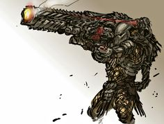"""""""Is there such a thing as excessive firepower? This awesome piece of Predator artwork comes to us via nameo Alien Vs Predator, Predator Alien, Fantasy Character Design, Character Art, Alien Concept, Concept Art, Alien Races, Alien Creatures, Alien Art"""