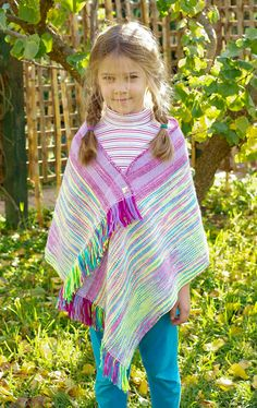 Hand woven girl's slouchy poncho