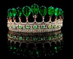 This emerald and diamond tiara c1900, from the collection of Princess Katharina Henckel von Donnersmarck, believed to have belonged to Eugenie, wife of French Emperor Napoleon III, sold for a world record 12.76 million dollars at Sotheby's 2011 auction.