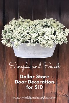 So excited to share this simple and sweet dollar store door decoration I made for under ten dollars! Check out my tutorial on how I gave my back door some much needed swag!