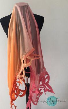 Nuno felted merino wool and silk shawl pink scarf woman gift | Etsy
