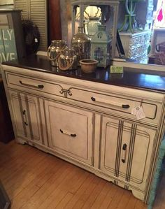 Art deco buffet in a custom finish and a refinished wood top.