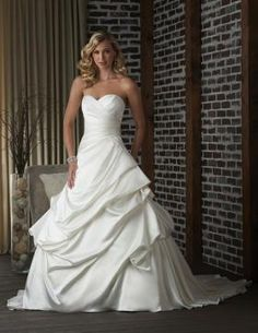 Beautiful 2013 Bonny wedding dress style 301 featuring a sweetheart strapless neckline and A-Line skirt from BestBridalPrices Best Wedding Dresses, Bridal Dresses, Bridesmaid Dresses, Prom Dresses, Satin, Best Bridal Prices, Bonny Bridal, Traditional Wedding Dresses, Affordable Dresses