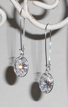 """14x10mm Oval White Cubic Zirconia Sterling Silver Dangle Earrings, $38 """"saving my pennies"""""""
