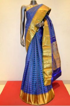 Blue Zari Checks Kanjeevaram Silk Saree Product Code: AB207313
