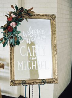 Romantic mirror calligraphy sign:  http://www.stylemepretty.com/little-black-book-blog/2016/04/27/find-out-how-these-classmates-went-from-hola-to-i-do/ | Photography: Graham Terhune - http://grahamterhune.com/