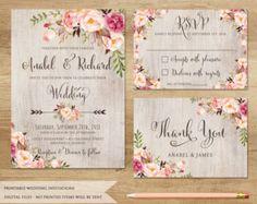 Invitación de boda floral. Invitación de boda por SweetPeonyDesign