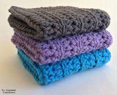 Crochet Washcloths - Cotton Crocheted Washcloths - Baby Washcloths - Kitchen - Bathroom - Baby - Set of 3 - wash cloth - washcloth - Wipes