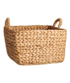 Natural. Large, square water hyacinth basket with two handles at top. Width at the base 12 1/2 x 12 1/2 in. Width at top 15 3/4 x 15 3/4 in. Height 9 in.