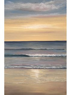 Ann Steer - As The Day Ends - Pastel - Sea - Beach - Sunset - Waves - Ocean - Painting