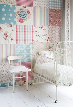 Mural Patchwork Girls (2000193) - Paper Moon Wallpapers - A pretty and fun patchwork mural - showing in shades of pink and blue. Paste-the-wall product. The mural size is 186cm wide x 279cm. This mural comes in 4 panels. SAMPLES NOT AVAILABLE.