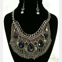 """JUST REDUCED! Unique & Classy Statement set! """"Lavish"""" is a beautiful necklace and earrings set for the stand out, classy gal! This is a pic of the actual product.  Pretty colored jewels for Spring & Summer adorn this unique piece. A head turner for sure! Make an offer ;) Inoj Boutique Accessories"""