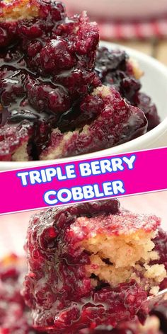 Triple Berry Cobbler - This mixed berry cobbler tastes like an old fashioned cobbler recipe Grandma made with raspberries, blackberries and blueberries. Delicious Deserts, Yummy Food, Triple Berry Cobbler, Easy Desserts, Dessert Recipes, Eat Dessert First, Sweet Recipes, The Best, Sweet Tooth