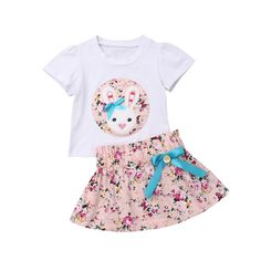 Cute Infant Baby Girl Bunny Floral Short Sleeve O-Neck Top T-shirt Bowknot Skirt Dress Outfits Clothes New Fashion Newborn Outfits, Toddler Outfits, Kids Outfits, Girl Sleeves, Easter Outfit, Outfit Sets, Fashion Prints, Dress Skirt, Dress Outfits
