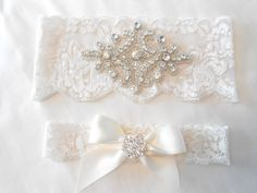 Wedding Garter Set Ivory or White Stretch Lace Bridal Garter Set With Soft Blue Pearl and Rhinestone Setting Garter Set. on Etsy, $24.90