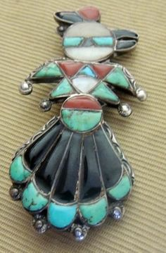 """Zuni Frank Vacit Thunderbird Hopi Bird Pin """"Book Piece"""" Mosaic Inlay Early 1940s"""