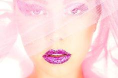 Pink lipstick glitter lips