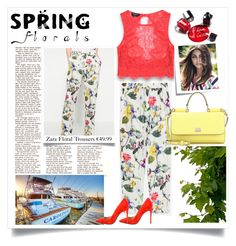 """""""Spring Florals"""" by eledonoghue ❤ liked on Polyvore featuring Bebe, Barbara Bui, Post-It, Dolce&Gabbana and Chanel"""