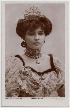 Postcard Edwardian Actress Fannie Ward Beautiful Dress Jewellery Tiara | eBay