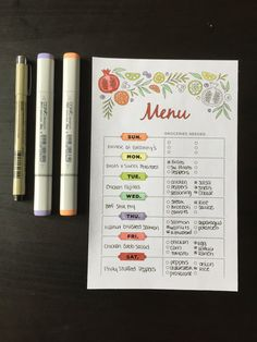 Weekly Meal Planner Printable Color by LighthousePaperCoNC on Etsy