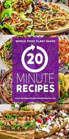 We've gathered a trusted list of 20 Minute Recipes that are Whole Food Plant Based, oil free, healthy, delicious, and sure to please! Whole Foods Vegan, Whole Food Diet, Whole Food Recipes, Vegan Recipes, Wslf Recipes, Vegan Meals, Plant Based Whole Foods, Plant Based Eating, Plant Based Diet