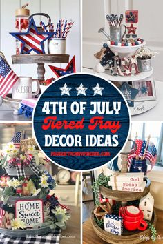 Get some inspiration for decorating your 4th of July tiered tray. From farmhouse tiered trays to rustic decor tiered trays, there are plenty of 4th of July decorations for your tiered tray to choose from. These tiered tray 4th of July decor ideas will give your home decor a touch of patriotic style. Fourth Of July Decor, 4th Of July Party, July 4th, Fouth Of July Crafts, Patriotic Table Decorations, Dollar Tree Decor, Summer Diy, Tray Decor, Rustic Decor