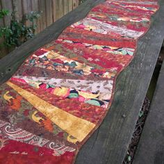 Curved Fall Table Runner Wall Hanging Scrappy by atthebrightspot, $78.00