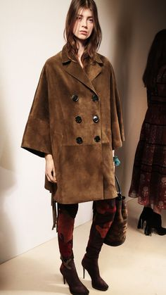Burberry Prorsum Womenswear Autumn/Winter 2015 show | Burberry fringed Poncho Coat